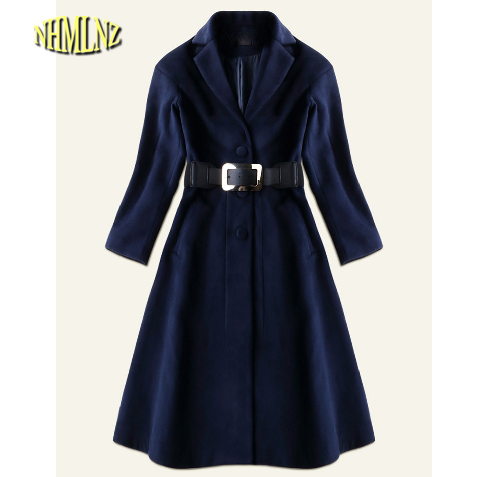 2017 Winter New Fashion Solid color Woolen Jacket Women Temperament Long sleeve Collect waist Woolen Coat