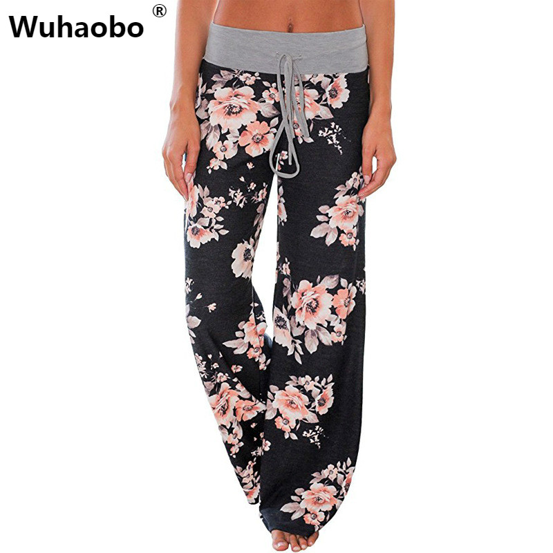 Wuhaobo Loose Flower Print   Pants     Capri   Bottoms Sweatpants High Waist Female   Pants   Women Summer Wide Leg Trousers CasualS-3XL