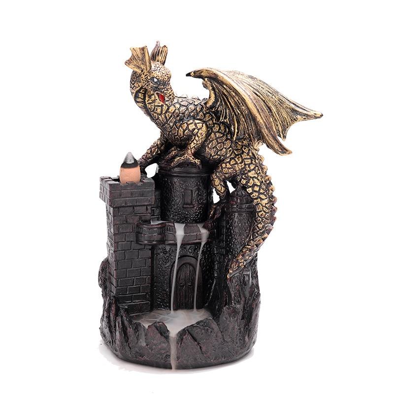Resin Dragon castle Incense Burner for Smoke Backflow Like Water Streaming Down Art Craft Furnace Home Decor mx5161459