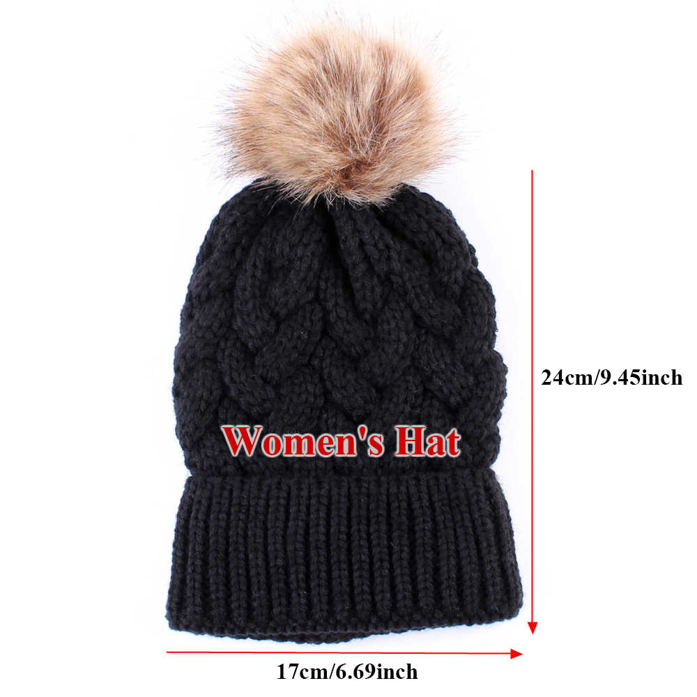 e43a97a9e4807b ... Mom And Kids Winter Warm Chunky Fur Pom Pom Bobble Crochet Knit Hat  Funny Raccoon Beanie ...