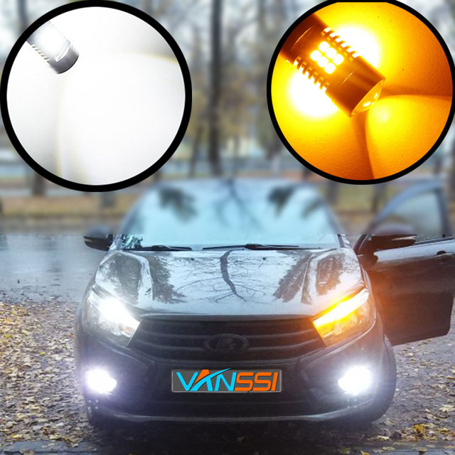 VANSSI 2pcs T20 7440 W21W 7441 7443 7444 W21/5W LED Bulbs for LADA Dimension Lights Bulbs Super Bright White Amber DC12-24V