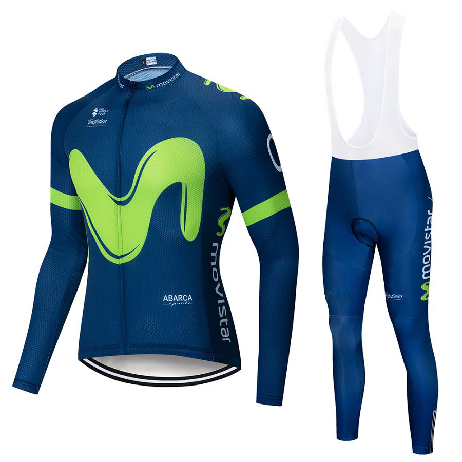2018 Movistar Team long sleeve Cycling jersey Set bib pants ropa ciclismo bicycle clothing MTB bike jersey Uniform Men clothes