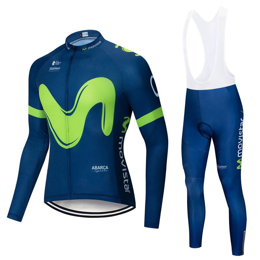 2019 Movistar Team long sleeve Cycling jersey Set bib pants ropa ciclismo bicycle clothing MTB bike jersey Uniform Men clothes