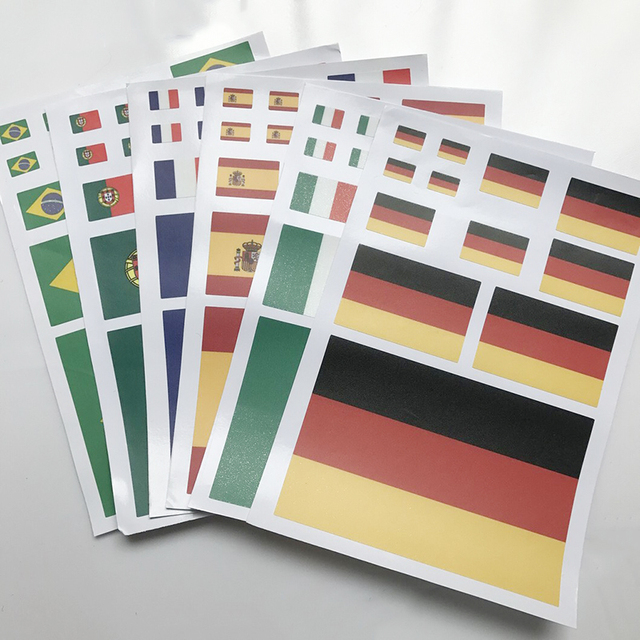 A4 Italy Germany France Russia USA UK Spain Portugal Canada Korea Brazil Flag Austrilia Sweden Waterproof PVC Sticker DIY Decals