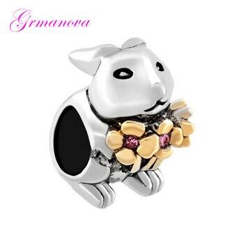 Beads Jewelry Making Bracelet Easter Ornament Pendant Spring Flowers Bunny Charm Beads Fit Pandora Necklace bracelet