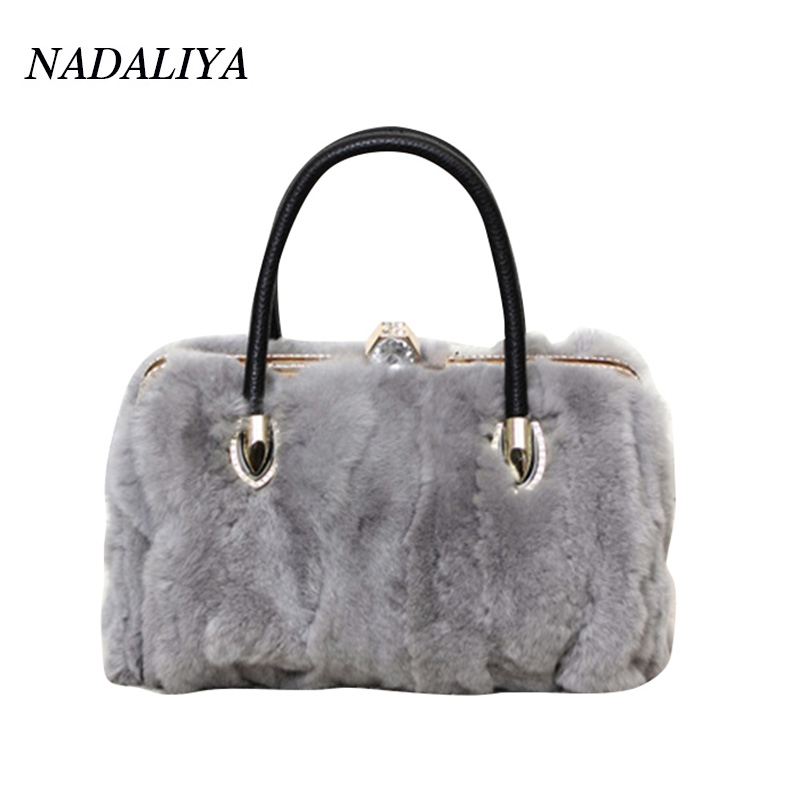 100% real Rabbit Fur Handbags 2017 Winter Shoulder Bag Real Fur Handbag Women Messenger Bags bolsa feminina women bag Fur Bags