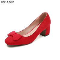 2019 Brand Lady Pump Handmade Thick Heel Round Toe Pure Color Heel Party Career Fashion Mature Shoes Women Large Size 42 43