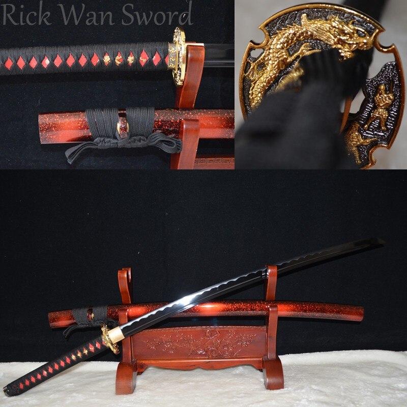 HIGH QUALITY HANDMADE Japanese samurai sword katana black 1060 high carbon steel full tangHIGH QUALITY HANDMADE Japanese samurai sword katana black 1060 high carbon steel full tang