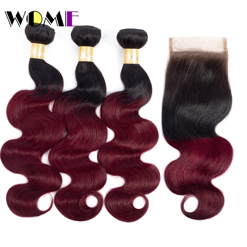 Wome Raw Indian Body Wave Hair Bundles with Closure 1b/99j Ombre Human Hair 3 Bundles with Lace Closure 100% Non-remy