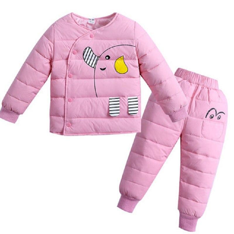 cartoon baby Children boys girls winter warm down jacket suit set thick coat+jumpsuit baby clothes set kids jacket animal цена и фото