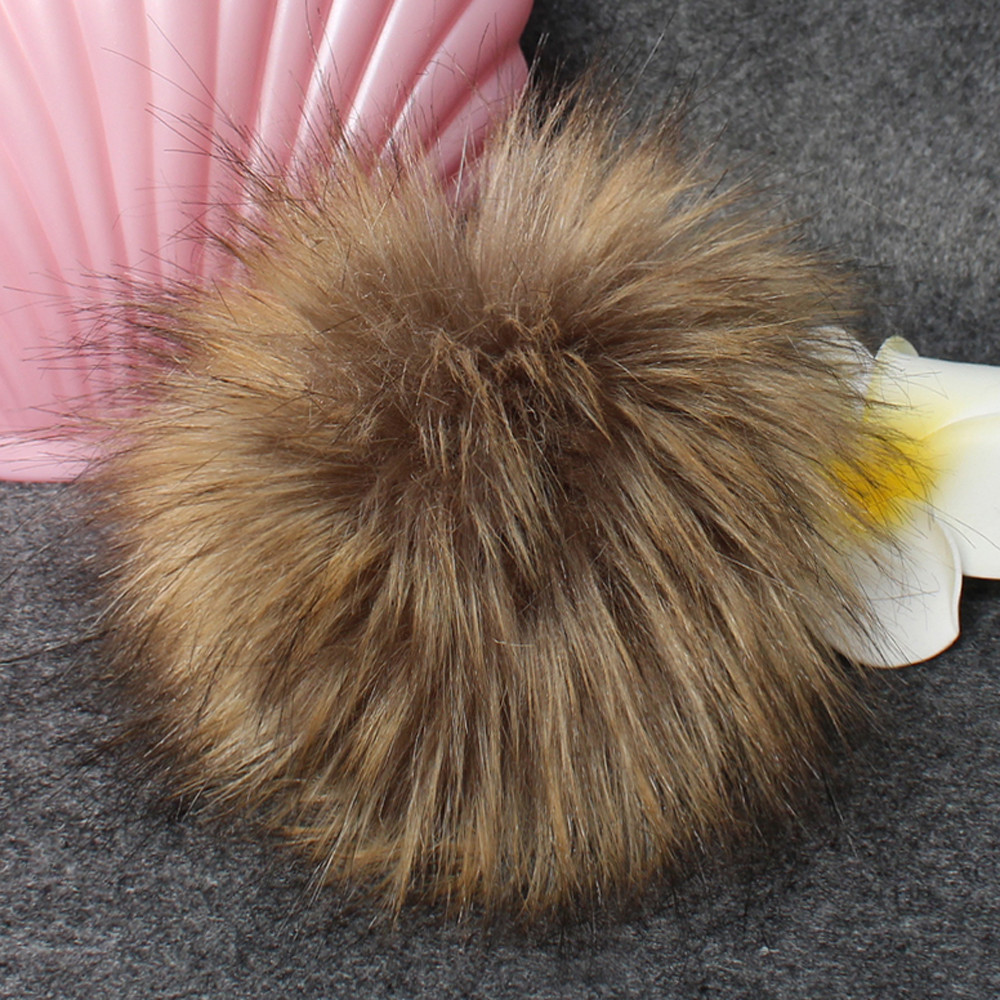 Faux Fur Ball Pom Pom Fluffy Fur Pompom DIY Winter Hat   Skullies     Beanies   Knitted Cap Pompoms Women