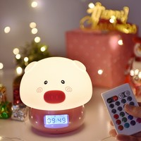 Cute Children's Animal Cartoon Silicone 7 Color Pig LED Night Light Touch Sensor Remote Control Baby Breathing Light Gift Toys