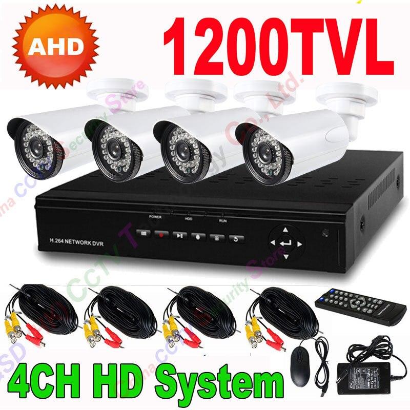 4CH CCTV AHD DVR System 24pcs IR Outdoor Security 720P Camera 1200 TVL HD Surveillance System add 1TB HDD