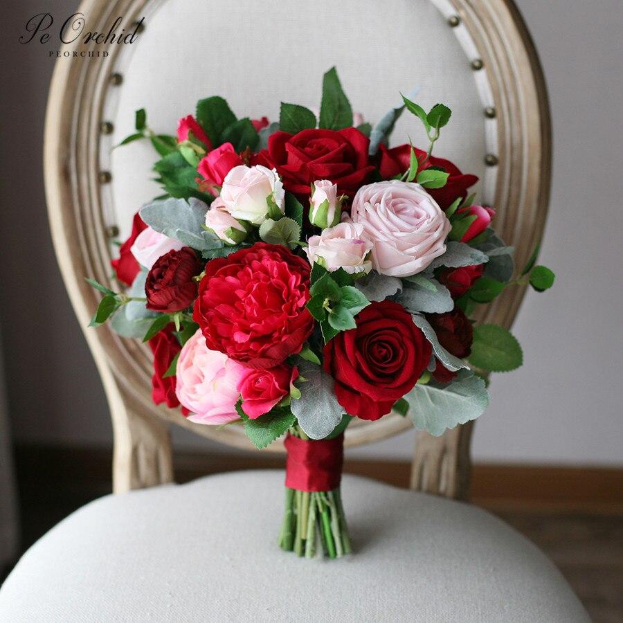 Peorchidée nuptiale fleur Bouquet Fleurs Artificielles Exterieur rouge Rose Rose pivoine mariage Bouquet pour mariée 2019