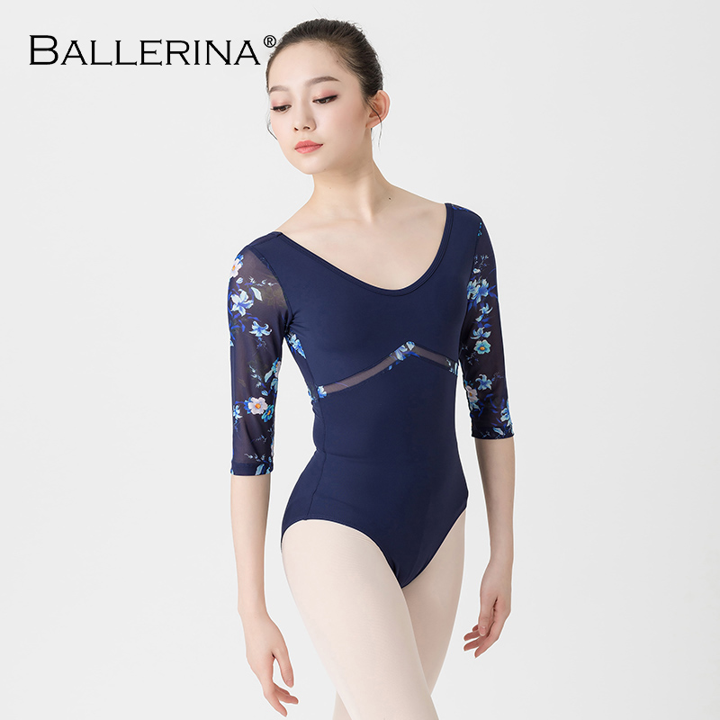 Ballet Leotards For Women Aerialist Dance Costume Yoga Sexy  Gymnastics Long Sleeve Printing Leotards Adulto Ballerina 5889