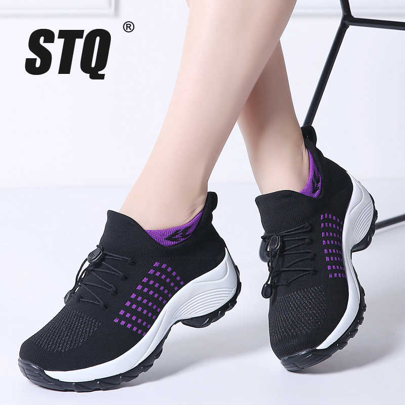 14556038ee02 STQ 2019 Spring women flat platform sneakers for women breathable mesh  black sneakers shoes ladies laces