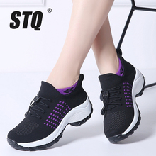 STQ 2020 Autumn Women Flat Platform Sneakers For Women Breathable Mesh Black Sneakers Shoes Ladies Laces For Sock Sneakers 1855