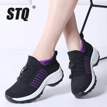 STQ 2020 automne femmes plate forme baskets pour femmes respirant maille noir baskets chaussures dames lacets pour chaussette baskets 1855