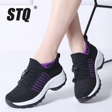 Stq 2020 Herfst Vrouwen Platte Platform Sneakers Voor Vrouwen Ademend Mesh Zwart Sneakers Schoenen Dames Veters Voor Sok Sneakers 1855