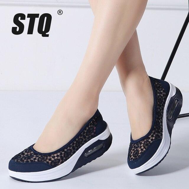 STQ 2020 Summer Women Flat Platform Shoes Women Breathable Casual Sneakers Shoes Slip On Platform Walking Shoes For Women 1618