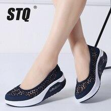 Sapatos femininos de plataforma baixos stq, calçados casuais respiráveis para mulheres, slip on, sapatos de caminhada na plataforma, verão 2020, 1618