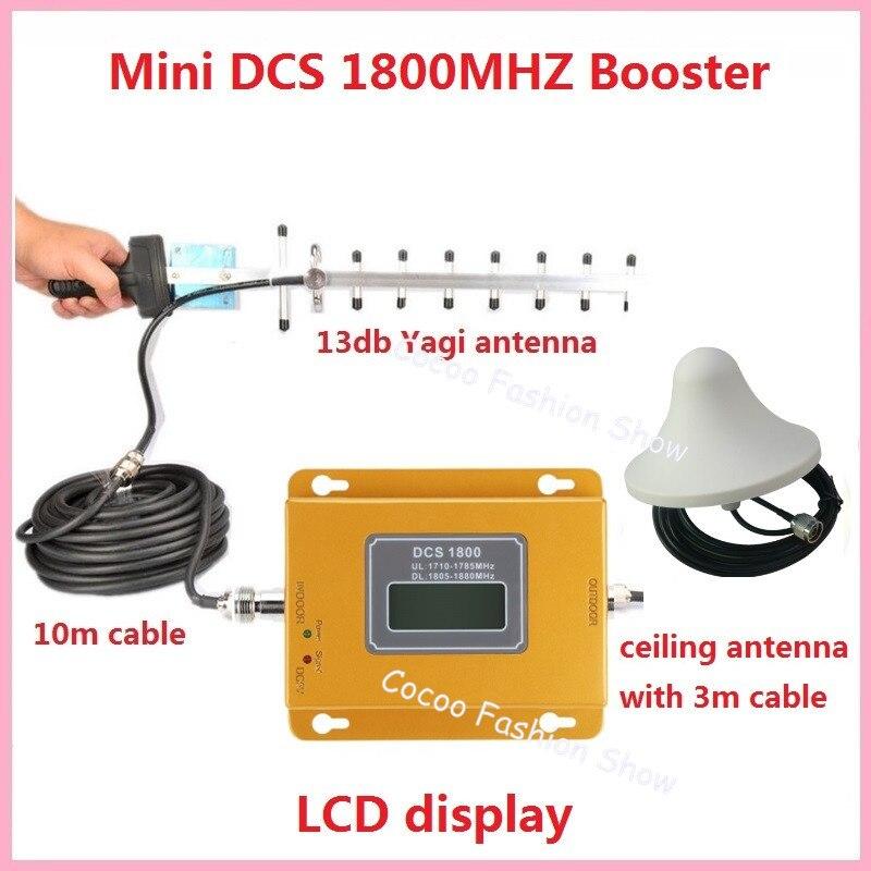 Ensemble complet 13db Yagi + Plafond Antenne! LCD 4g LTE GSM DCS 1800 mhz Téléphone Mobile Répéteur de Signal Booster 4g DCS Cellulaire Amplificateur