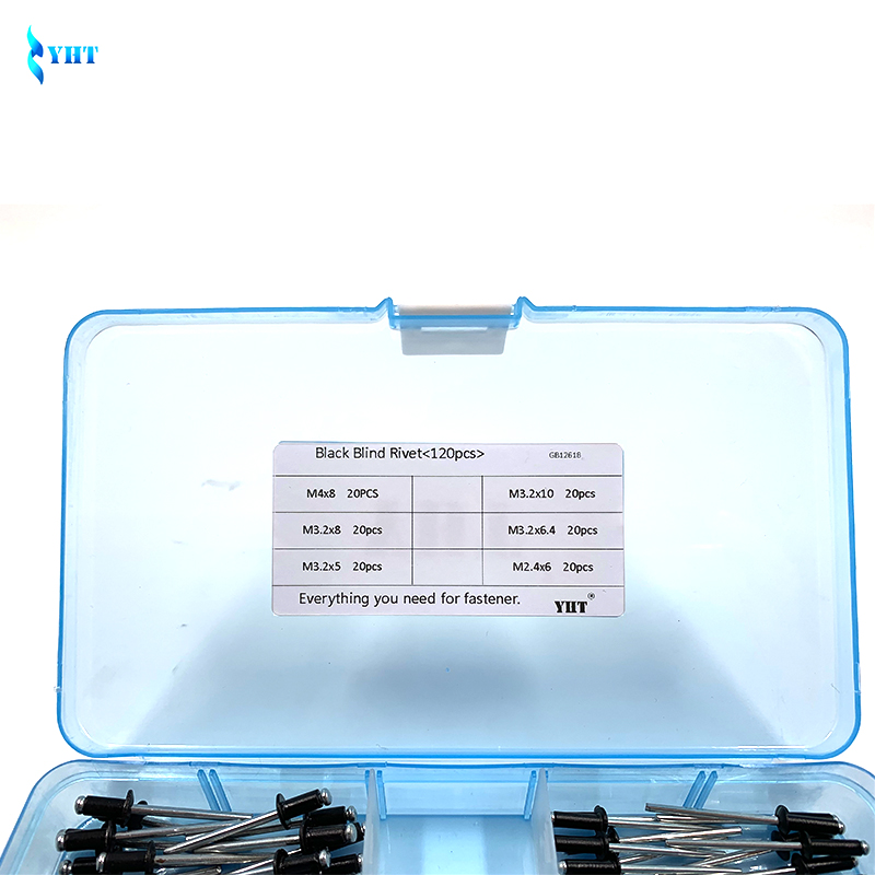 120pcs Open End Decorating Fastener Nails Pop Rivets Kits M4 M3.2 Aluminum Rivet
