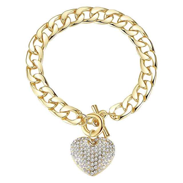 Minmin Lovely Gold/Silver Color Bracelets for Women Heart Crystal Pendant Thick Chain Bracelets & Bangles Fashion Jewelry MSL063