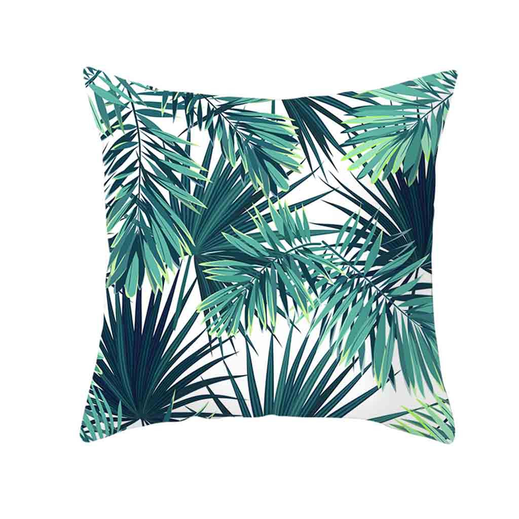 Image 3 - Decorative Green Leaf Printed Throw Pillow Cover Soft Comfortable Pillow Covers Square Polyester Cushion Case For Sofa Bedroom-in Cushion Cover from Home & Garden
