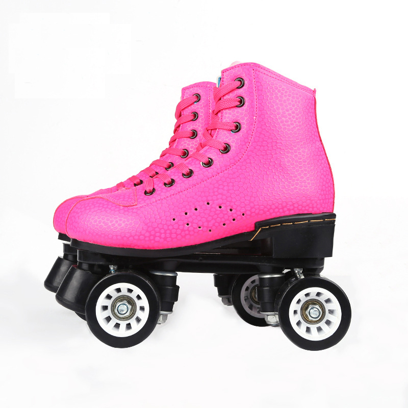 LK722 Genuine Leather Double Row Skates Adult Flashing Roller Skates Playground Roller Skating For Women 100kg Bearing girls and ladies favorite white roller skates with full grain genuine leather dual lane roller skate shoes for adult skating