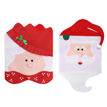 Christmas Chair Back Cover Santa Claus Mrs. Claus Hat Cap Chair Back Covers Table Decorative Gifts X-mas Decorations
