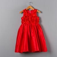 Di alta Qualità Della Ragazza Del Bambino Di Compleanno Bambini Partito Lolita Usura Raso Bellissimo Fiore Rosso Top Scherza I Vestiti Delle Ragazze Vestito Da Partito