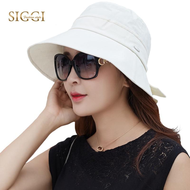 SIGGI Cotton Summer Sun Hat For Women Bucket UV upf 50 Cap chapeu feminino praia chapeau femme Packable fashion elegant 89055