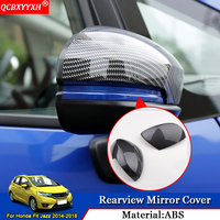QCBXYYXH Car Styling ABS Car External Rearview Mirror Cover Sequins Decorative Auto Accessories Fit For Honda Jazz Fit 2014 2018