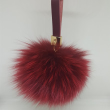 Charm Fluffy Fox Ball Pom Pom Key Chain Genuine Leather Pom-Pom Keychain Car Hanging Keyring Bag Purse Pendant Women Gift