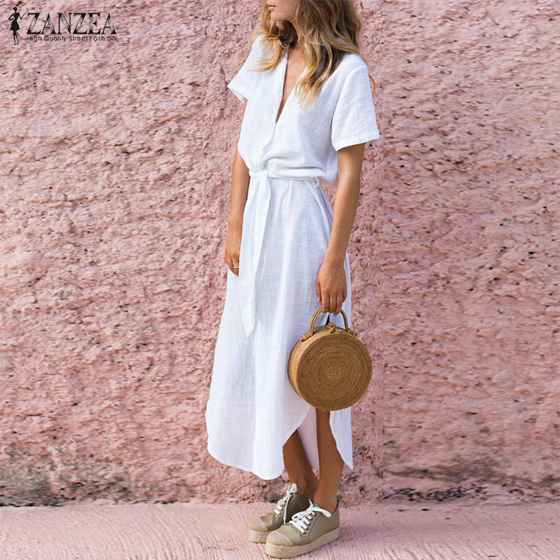 2018 Summer ZANZEA Fashion Dress Women V Neck Vestido Maxi Dress Sexy High Split Irregular Beach Long Shirt Vestidos Elbise