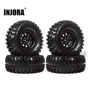 INJORA Metal 4Pcs 2.2 Inch Beadlock Wheel Rim& Wheel Tires for 1/10 RC Crawler Axial SCX10 RR10 90053 AX10 Wraith 90056 90045 2