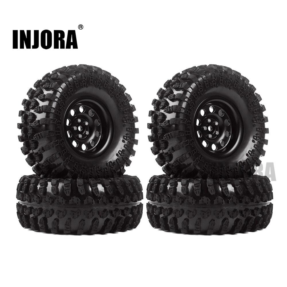 INJORA métal 4 pièces 2.2 pouces Beadlock jante et pneus de roue pour 1/10 RC chenille axiale SCX10 RR10 90053 AX10 Wraith 90056 90045 - 2