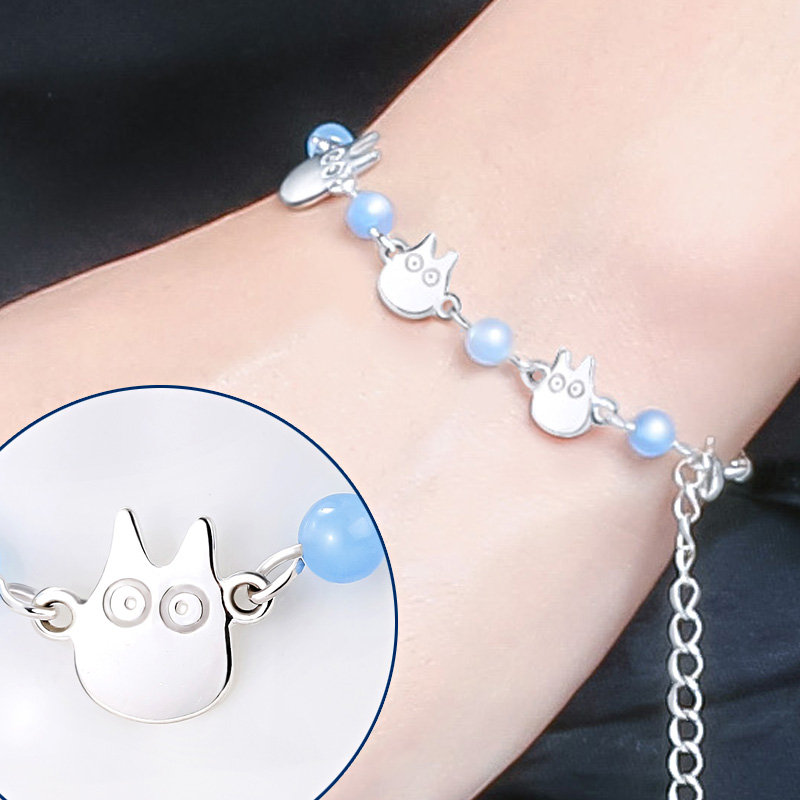 Hayao Miyazaki Anime My Neighbor Totoro Bead Bracelet Hand Chain 925 Sterling Silver Beautiful Desigh for Girl Party 2 Size 1set miyazaki hayao my neighbor anime totoro figure totoro mei fairy dust resin action figure toy gifts for garden home decor