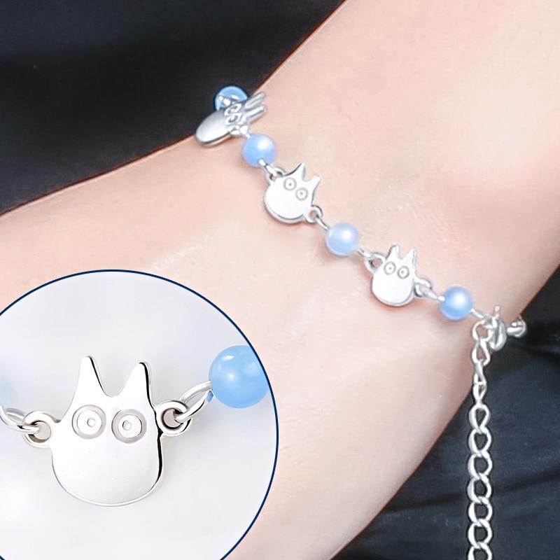 Hayao Miyazaki Anime mon voisin Totoro perle Bracelet chaîne à main 925 en argent Sterling beau design pour fille fête 2 taille