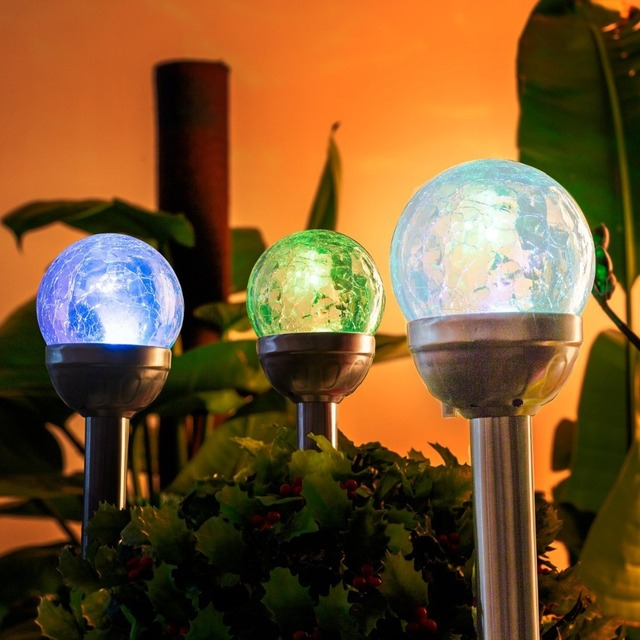 Solar Lights Outdoor 3 Pack Cracked Glass Ball Dual Color Changing LED  Garden Lights Landscape Pathway