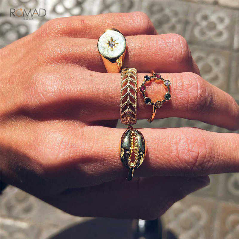 Romad Colorful Rhinestone Shell Ring For Women Girl Bohemian Finger Gold Rings Wedding Band Jewelry Midi Knuckle Ring Set W3