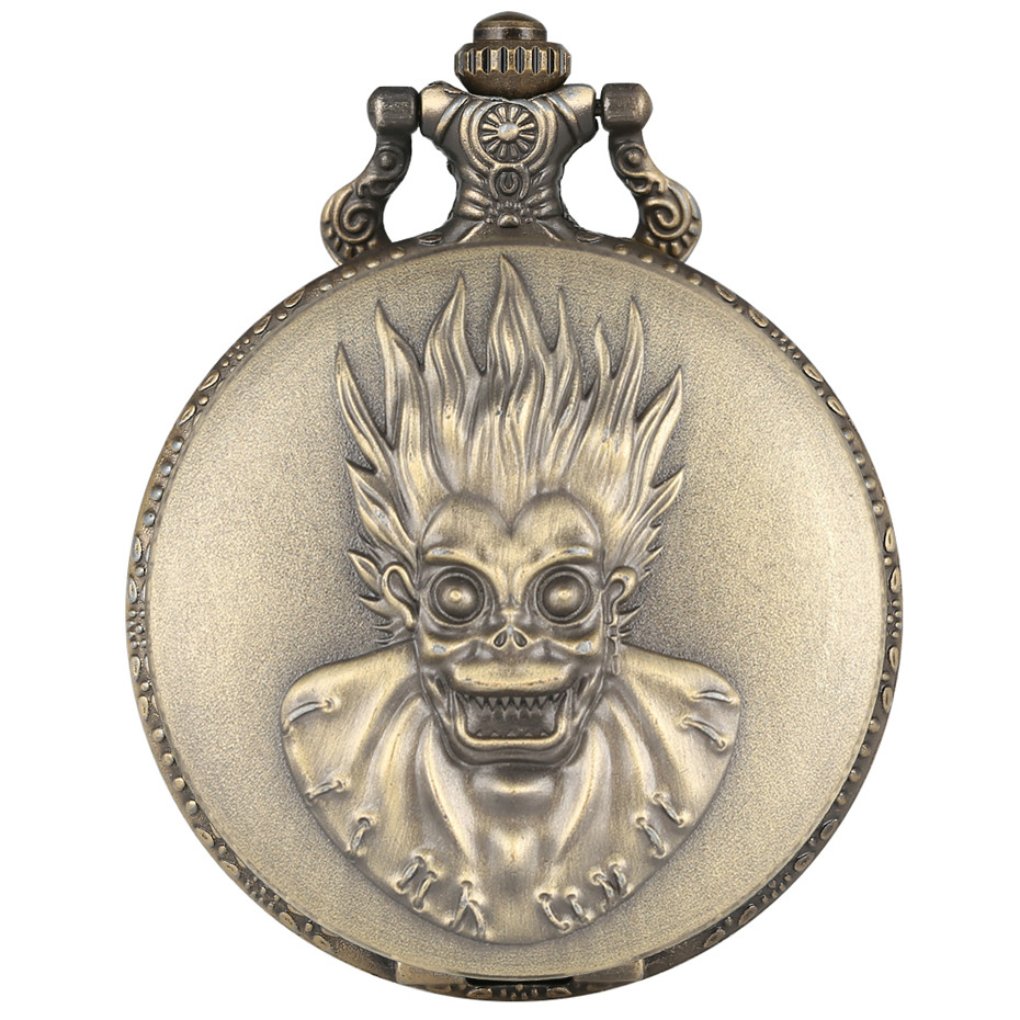 Punk Cool Monkey King Design Quartz Bronze Pocket Watch Vintage Necklace Chain Souvenir Pendant Watches Gifts Men Women Kids
