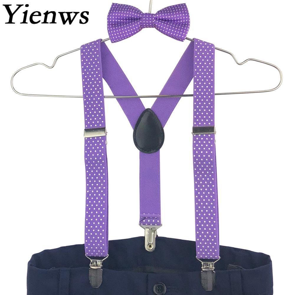 Yienws Kids Suspenders Baby Bow Tie Suspenders Boys Girls Stylish Suspensorio Bow Ties Polka Dot Braces For Children YiA028