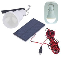 Portable 1 2W LED Solar Panel Bulb Lamp IP55 Waterproof Light Indoor Outdoor Camping Tent Travel
