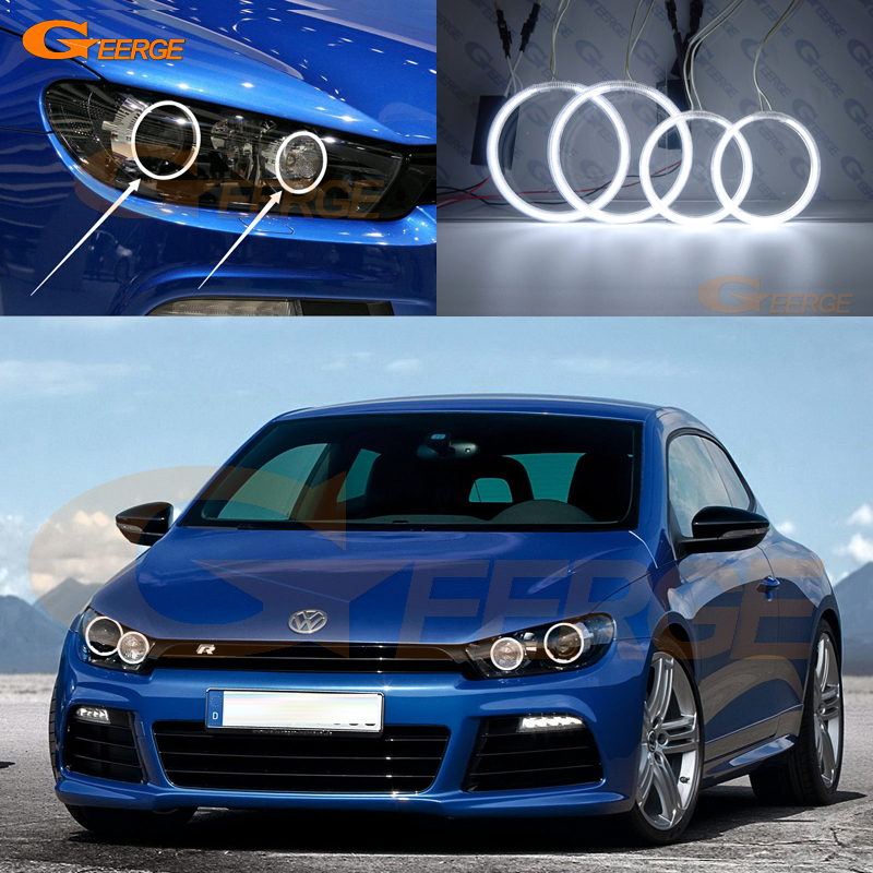 Для Фольксваген Сирокко VW 2008-2013 Ксеноновые фары отлично ангел глаза комплект Ультра-яркое освещение CCFL Ангел глаз