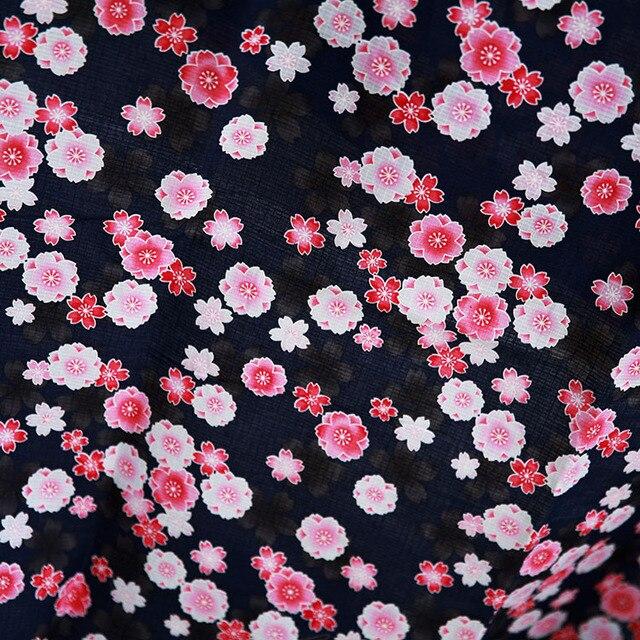 145x100 Cm Bleu Rose Sakura Floral Imprimé À Carreaux 100% Coton Japonais  Patchwork Tissus D
