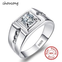 Классические мужские кольца 6 мм 1 Фианит 2 карата обручальное кольцо серебро 925 й пробы обручальное кольцо для мужчин ювелирные изделия опто