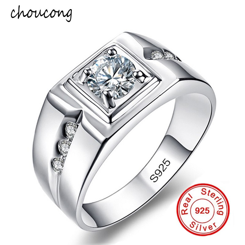 Classic Men Ring Set 6MM 1 Carat CZ Diamant Engagement Ring 925 Solid Silver Wedding Ring for Men Jewelry WholesaleClassic Men Ring Set 6MM 1 Carat CZ Diamant Engagement Ring 925 Solid Silver Wedding Ring for Men Jewelry Wholesale