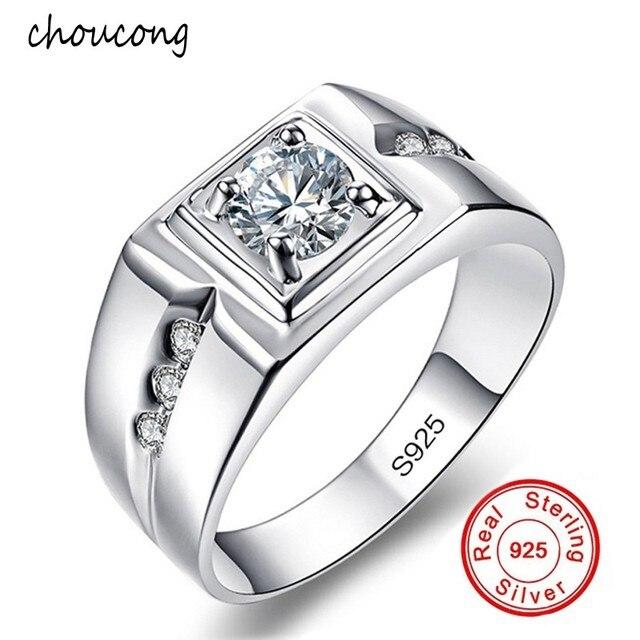 Klassische Herren Ring Set 6 Mm 1 Karat Cz Diamant Verlobungsring